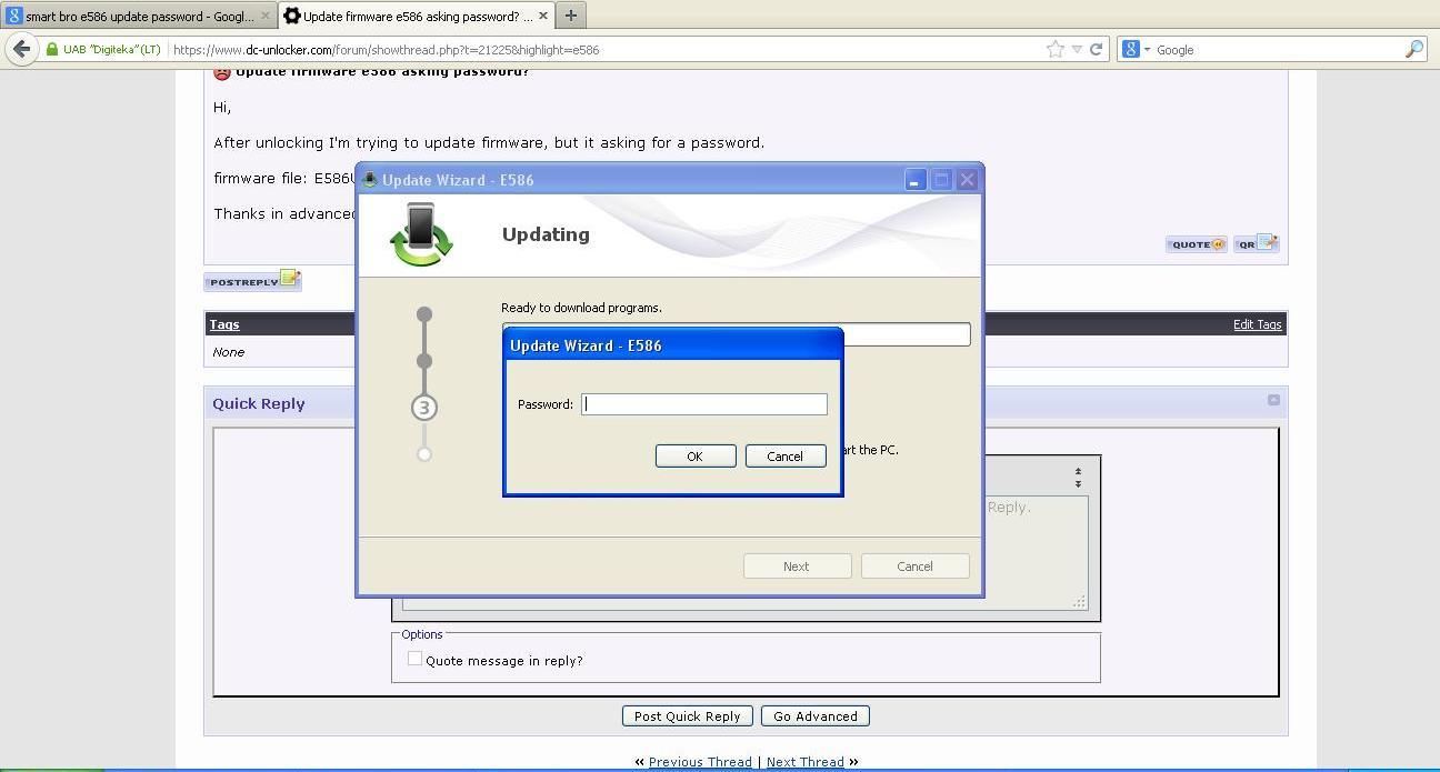 Update firmware e586 asking password? - DC-unlocker